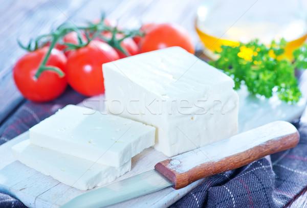 Fetasajt tábla asztal olaj saláta fehér Stock fotó © tycoon