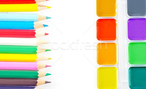 Schoolbenodigdheden kantoor student oranje onderwijs Blauw Stockfoto © tycoon