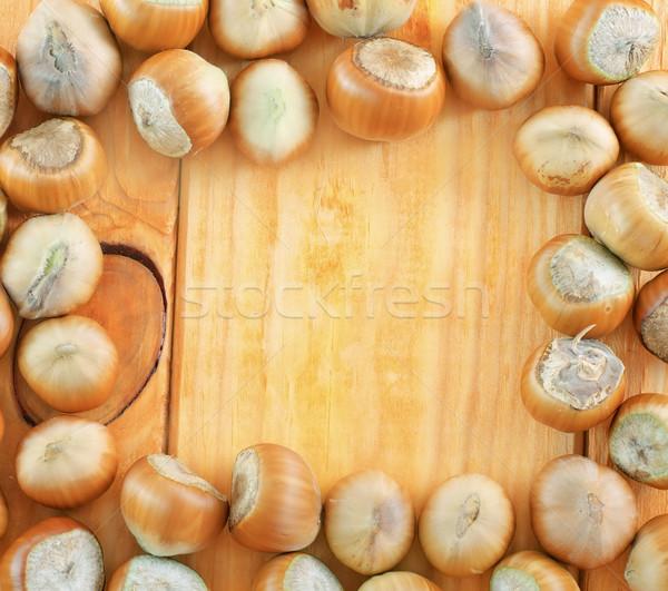Mogyoró étel természet levél gyümölcs háttér Stock fotó © tycoon