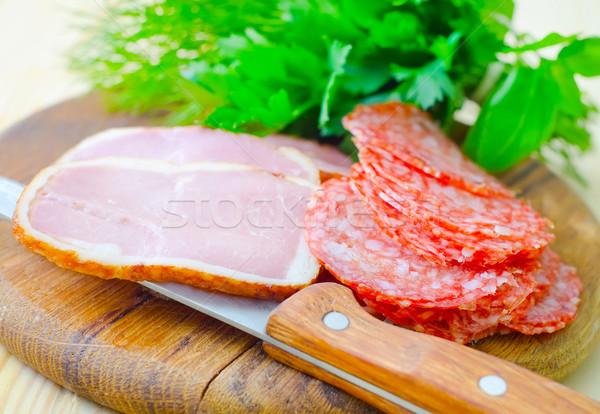 サラミ ハム 木材 肉 朝食 脂肪 ストックフォト © tycoon