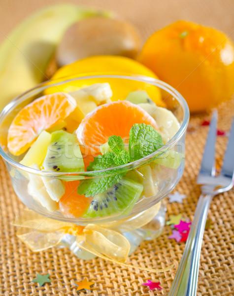 Salada de frutas comida fundo verde vermelho coquetel Foto stock © tycoon