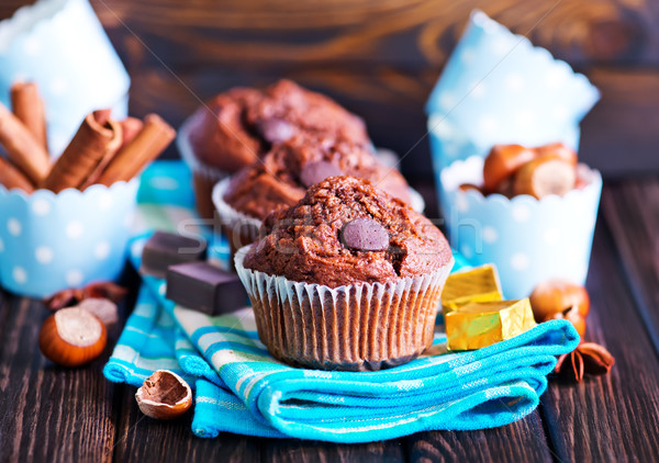 Chocolade muffins Spice tabel home eten Stockfoto © tycoon