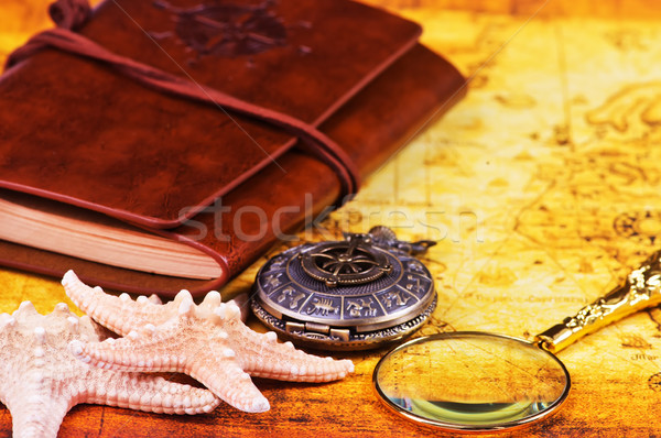 Velho caderno lupa bússola mapa viajar Foto stock © tycoon