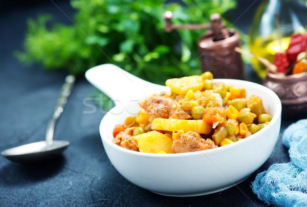 Stock fotó: Sült · zöldségek · tál · asztal · fa · konyha