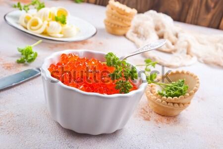 красный икра хлеб масло таблице кухне Сток-фото © tycoon