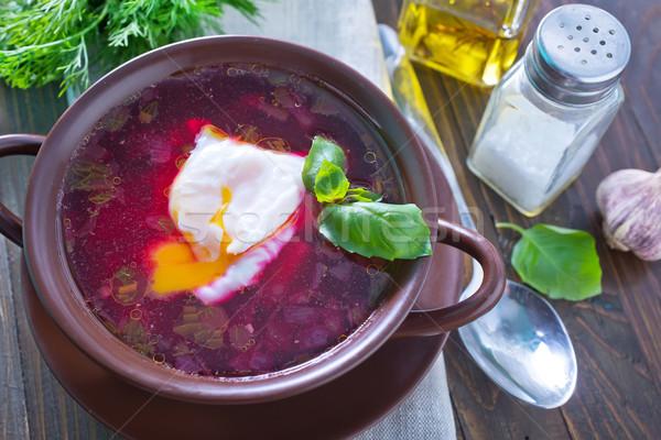 Rojo huevos placa color comer rosa Foto stock © tycoon