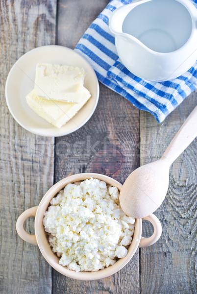 Fromage cottage bol table fleur bois santé Photo stock © tycoon