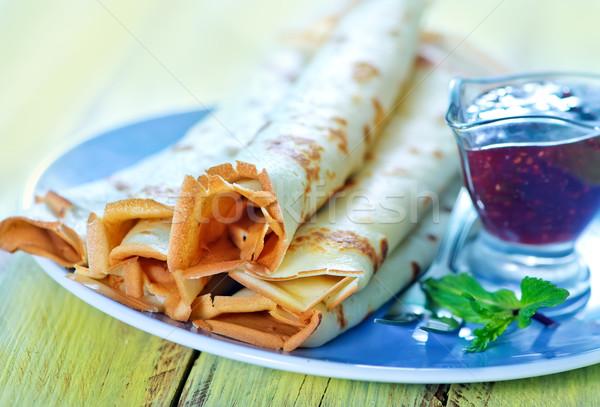 Foto stock: Frambuesa · atasco · placa · alimentos · caliente