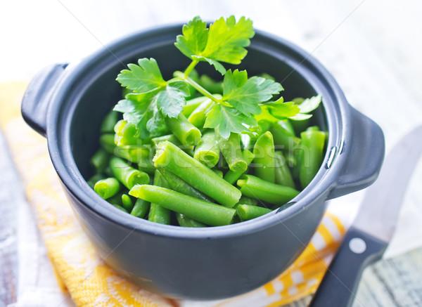 Groene bonen voedsel gezondheid plant koken boord Stockfoto © tycoon
