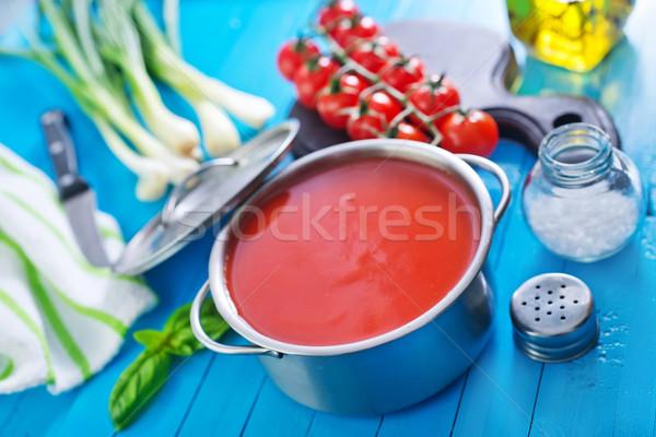 Zupa pomidorowa tekstury żywności drewna obiedzie czerwony Zdjęcia stock © tycoon