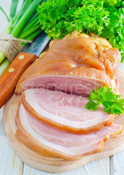 Wędzony żywności mięsa tłuszczu pokładzie marmuru Zdjęcia stock © tycoon