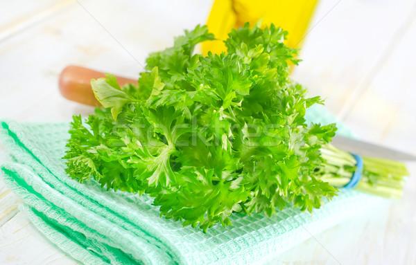 Maydanoz cam sağlık yeşil renk salata Stok fotoğraf © tycoon