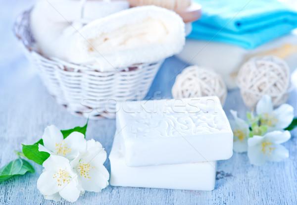 Aroma zeep witte bloemen tabel steeg Stockfoto © tycoon