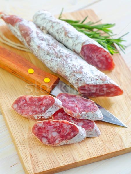 Stockfoto: Salami · voedsel · vlees · vet · boord · kruiden
