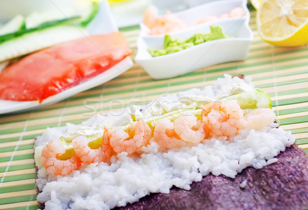 Fresh ingredients for sushi, rice and shrimps Stock photo © tycoon