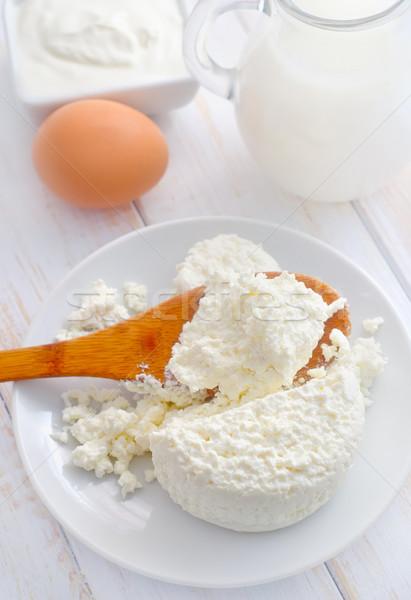 Lait produits fraîches chalet blanche plaque Photo stock © tycoon