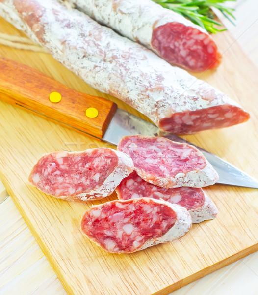 サラミ 食品 パン 赤 脂肪 新鮮な ストックフォト © tycoon