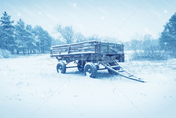 an old farm cart in the snow Stock photo © tycoon