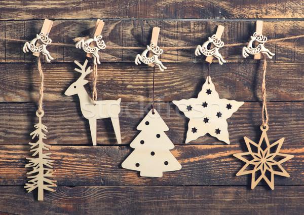 Natal decoração mesa de madeira papel árvore fundo Foto stock © tycoon