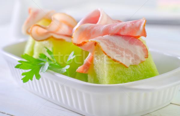 Kavun jambon gıda turuncu mavi taze Stok fotoğraf © tycoon