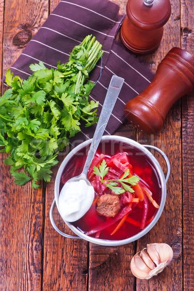 Zupa jarzynowa puchar żywności tle tabeli Zdjęcia stock © tycoon