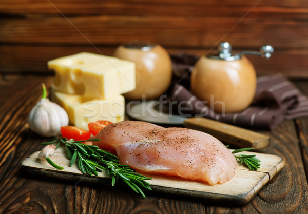 Csirkemell tábla asztal háttér konyha mell Stock fotó © tycoon