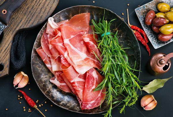Prosciutto especias placa stock foto alimentos Foto stock © tycoon