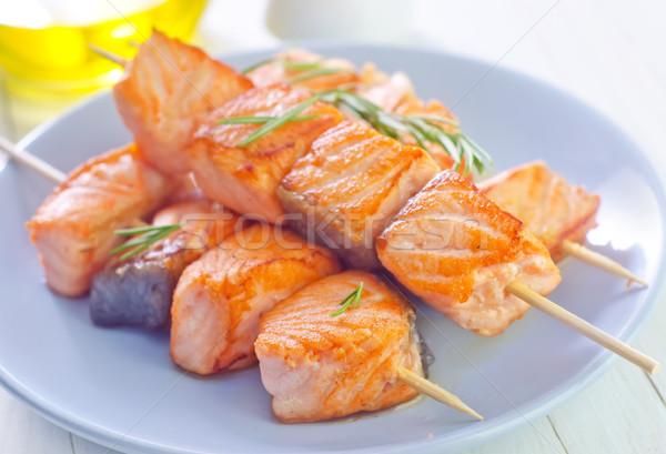 Somon kebap plaka tablo gıda balık Stok fotoğraf © tycoon