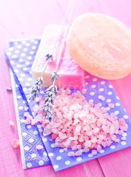 Zeezout zeep bloem lichaam schoonheid bar Stockfoto © tycoon