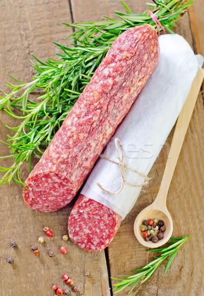 Salame vermelho mercado café da manhã gordura cozinhar Foto stock © tycoon