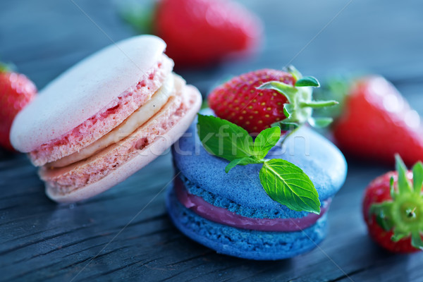 strawberry macaroons Stock photo © tycoon
