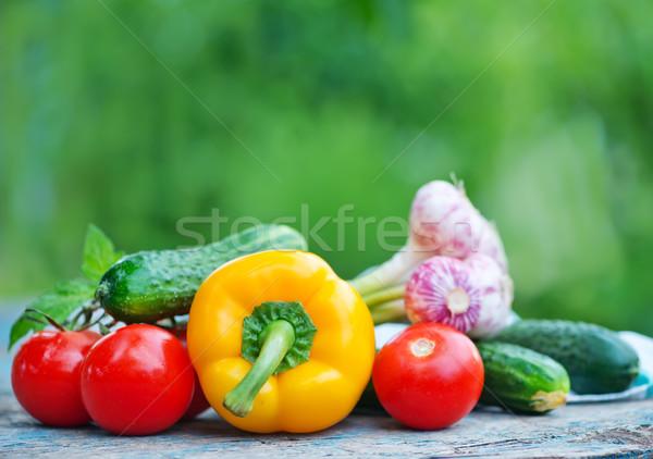 Foto stock: Hortalizas · crudo · mesa · jardín · resumen · diseno