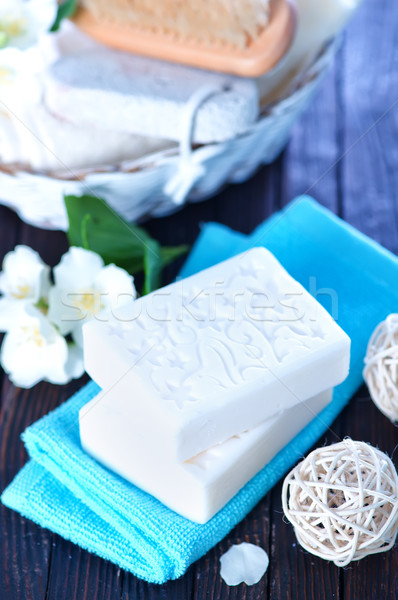 Aroma zeep witte bloemen tabel lichaam Stockfoto © tycoon