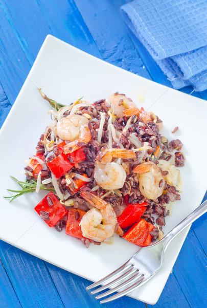 Stock fotó: Sült · rizs · zöldségek · utca · vacsora · piros