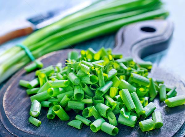 Yeşil soğan gıda yaprak meyve salata çelik Stok fotoğraf © tycoon