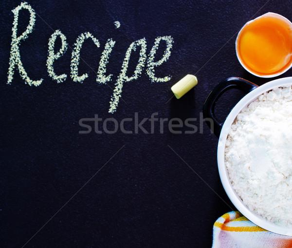 Farine oeufs blé noir bol table Photo stock © tycoon