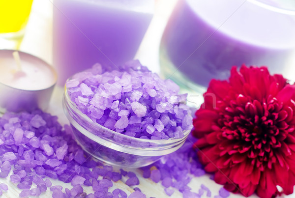 Mor deniz tuzu spa mum çiçek tıbbi Stok fotoğraf © tycoon
