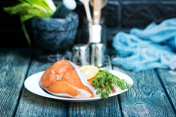 Friss lazac fűszer asztal étel tenger Stock fotó © tycoon