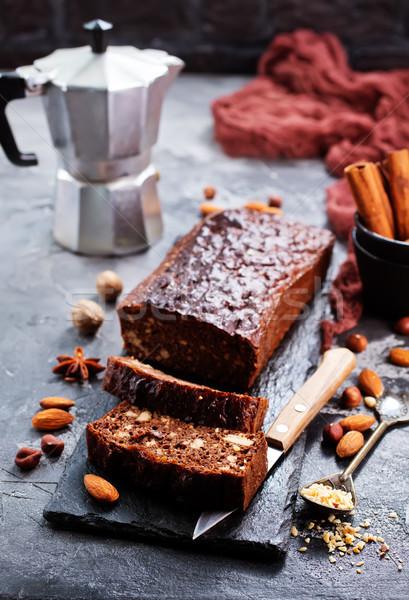 Csokoládés sütemény tányér asztal étel fa háttér Stock fotó © tycoon