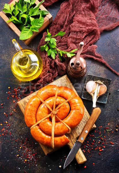 Salsichas tabela comida fundo beber Foto stock © tycoon