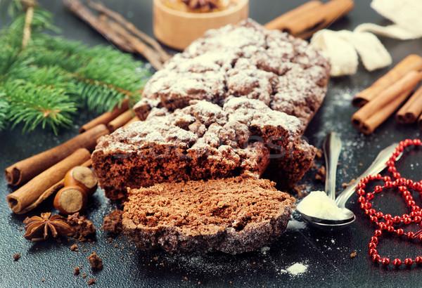 Bolo de chocolate natal decoração tabela fundo bolo Foto stock © tycoon
