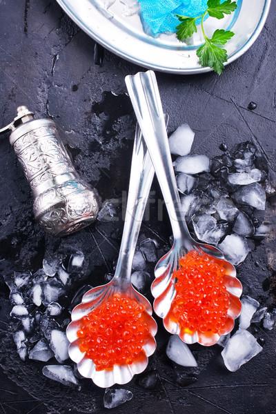 Caviar rojo salmón metal cucharas peces Foto stock © tycoon