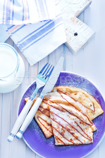 Pannenkoeken plaat tabel blad cake melk Stockfoto © tycoon