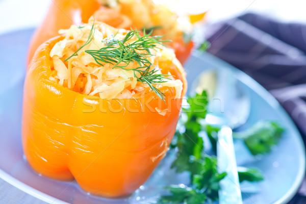 Stockfoto: Peper · gevuld · kool · plaat · achtergrond · salade