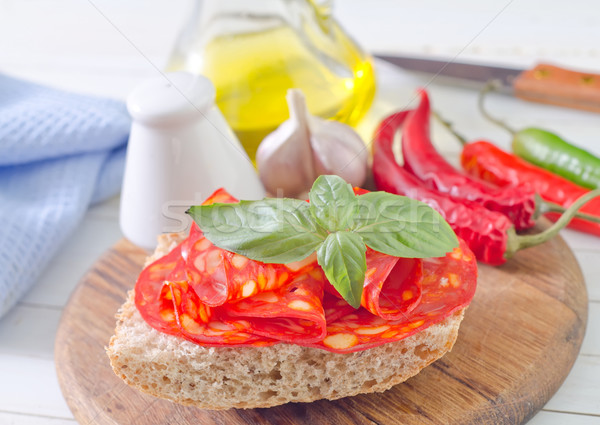 Pão salame queijo trigo café da manhã branco Foto stock © tycoon