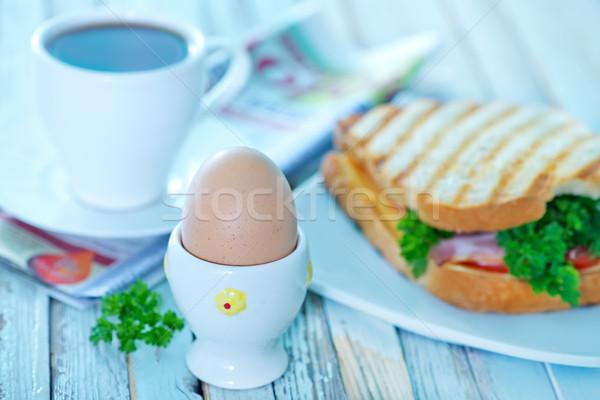 ストックフォト: 朝食 · コーヒー · フライド · 卵 · プレート · 紙