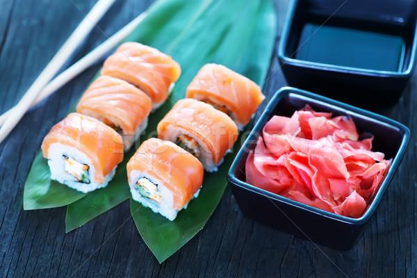 Sushi taze tablo deniz ürünleri balık mutfak Stok fotoğraf © tycoon