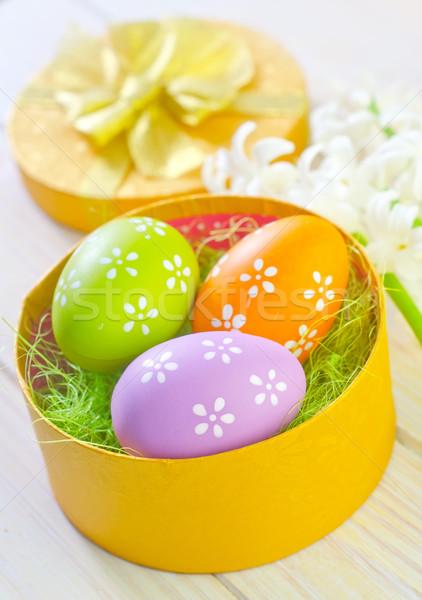 Húsvéti tojások citromsárga doboz boldog természet tojás Stock fotó © tycoon