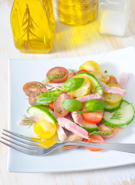 Fresco salada comida folha verde queijo Foto stock © tycoon