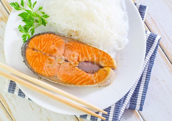 鮭 コメ 麺 魚 レストラン プレート ストックフォト © tycoon